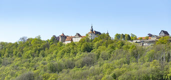Langenburg in Hohenlohe. Idyllic spring time scenery in Hohenlohe including a small town named Langenburg in Southern Germany Royalty Free Stock Photo