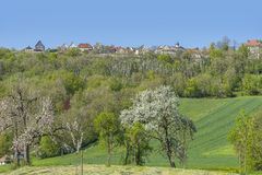 Langenburg in Hohenlohe. Idyllic spring time scenery in Hohenlohe including a small town named Langenburg in Southern Germany Royalty Free Stock Photography