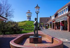 Langeoog water tower and monument Royalty Free Stock Images