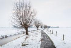 Langer Abzugsgraben mit dünnem Eis in einer schneebedeckten Landschaft Lizenzfreies Stockbild