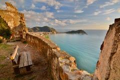 Langer Berührungsschuß Sestri Levante Camogli, Italien Stockfotos