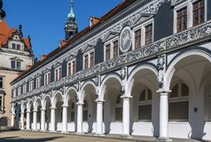 Langer Gang long corridor, Dresden,Germany. Langer Gang long corridor is a long arcaded open structure, Dresden,Germany. It was constructed in 16th century to Stock Photo