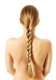 Langer Haarabschluß Browns oben Blonder langer Haarabschluß oben Stockfoto