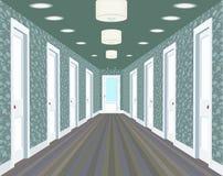 Langer Korridor mit Reihen von geschlossenen Türen Konzept von unbegrenzten Gelegenheiten für Erfolg und Härte der Wahl hallway Lizenzfreie Stockbilder
