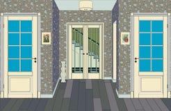 Langer Korridor mit Reihen von geschlossenen Türen Konzept von unbegrenzten Gelegenheiten für Erfolg und Härte der Wahl Wiedergab Stockbild