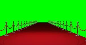 Langer roter Teppich gegen grünen Hintergrund vektor abbildung