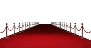 Langer roter Teppich gegen weißen Hintergrund stock abbildung