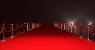 Langer roter Teppich mit Scheinwerfern gegen roten Hintergrund lizenzfreie abbildung