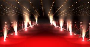 Langer roter Teppich mit Scheinwerfern gegen roten Hintergrund vektor abbildung