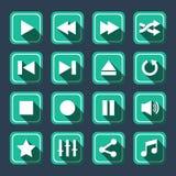 Langer Schatten Emerald Multimedia Vector Icons Withs Lizenzfreie Stockfotos