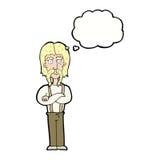 langer Schnurrbartmann der Karikatur mit den gefalteten Armen mit Gedankenblase Stockbild