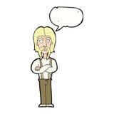 langer Schnurrbartmann der Karikatur mit den gefalteten Armen mit Spracheblase Lizenzfreie Stockfotografie