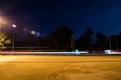 Langes Belichtungsstraßenlaterne Stockfotos