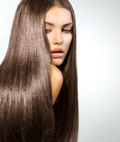 Langes gesundes gerades Haar Stockbilder