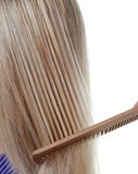 Langes Haar und Kamm Lizenzfreie Stockfotografie