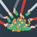 Langes Handgeld, das flaches Plakat ergreift Lizenzfreie Stockfotografie