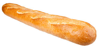 Langes Laib Französisches Brot lokalisiert auf dem weißen Hintergrund lizenzfreie stockfotografie