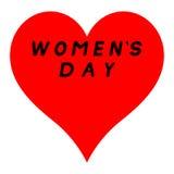 Langes rotes Herz für den Tag der Frauen mit schwarzem Weg und einem schwarzen Fülletitel vektor abbildung