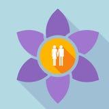 Langes Schatten loto mit einem heterosexuellen Paarpiktogramm lizenzfreie abbildung