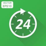 Langes Schattendesign Geschäftskonzept 24 Stunden Uhrpiktogramm Vector Kranken Stockbild