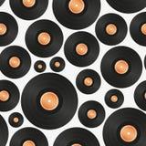 Langes Spiel LP-nahtloses Muster des Audiomusikmedien-Symbols Stockfotos