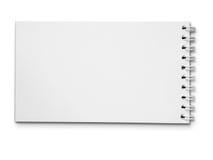 Langes unbelegtes weißes Anmerkungsbuch horizontal Stockfotografie