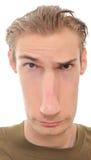 Langes verzerrtes Gesicht Stockfoto