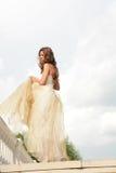 Langhaarige Prinzessin im goldenen Kleid Stockbilder