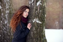 Langhaariger Brunette in einer Winterjacke Lizenzfreie Stockfotos