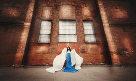 Langharig brunette in blauw-witte kledingsengel stock foto