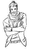 Langharige hipstermens met zijn gekruiste wapens Stock Afbeelding