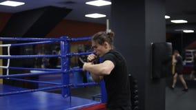 Langharige mens opleiding dichtbij de boksring in moderne gymnastiek Het bestrijden van de schaduw, ponsen Kickboxer in zwarte T- stock video