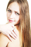 Langharige mooie blonde Stock Foto's