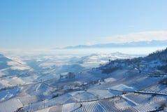 Langhe con nieve Imagenes de archivo