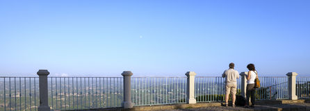 Langhe Hilly Region: tourists on the viewpoint of La Morra (Cuneo). Color image Royalty Free Stock Image