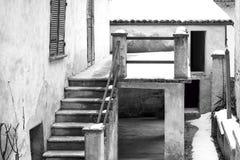 Langhe Noordelijk Italië: typisch huisdetail De Zwart-witte foto van Peking, China Royalty-vrije Stock Foto