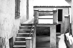 Langhe Northern Italy: typical house detail. Black and white photo royalty free stock photo