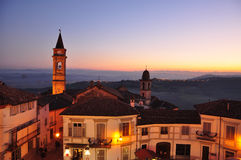 Langhe and Roero region, village of Govone, Piemonte, Italy. Langhe and Roero: the bell tower in the village of Govone. Unesco world heritage site. South royalty free stock photography