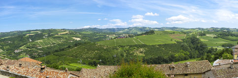 Langhe springtime panorama. Color image Royalty Free Stock Photo