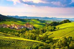 Langhe vineyards panorama, Barolo village, Piedmont, Italy Europ royalty free stock photography