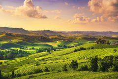 Langhe vineyards sunset panorama, Barolo, Piedmont, Italy Europe stock photography