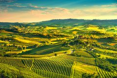 Langhe vineyards sunset panorama, Grinzane Covour, Piedmont, Ita Royalty Free Stock Photo