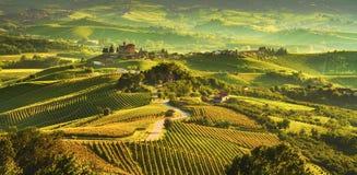 Free Langhe Vineyards Sunset Panorama, Grinzane Covour, Piedmont, Italy Europe Royalty Free Stock Photos - 152058358