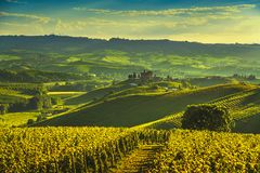 Langhe vineyards sunset panorama, Grinzane Covour, Piedmont, Italy Europe stock photography