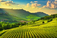 Langhe vineyards view, Barolo and La Morra, Piedmont, Italy Europe stock photography