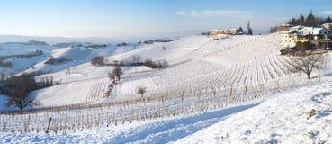 Langhe winter snowed panorama. Color image royalty free stock photos