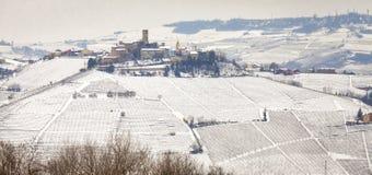 Langhe zimy winniców widok koloru córek wizerunku matka dwa Fotografia Stock