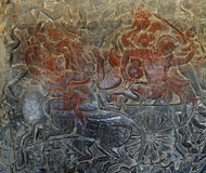 Langka battle, carved  bas relief from Ramayana Stock Photo