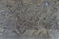 Langka battle, carved  bas relief from Ramayana Stock Photography