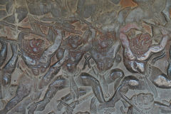 Langka battle, carved  bas relief from Ramayana Stock Image